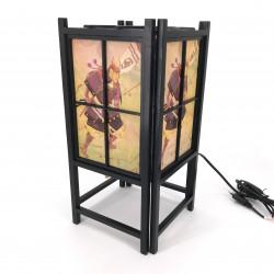 Japanische schwarze Lampe, Holz und Papier SAMURAI