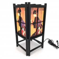 Japanische schwarze Lampe, Holz und Papier Geisha