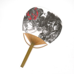 japanese non-folding fan uchiwa RYUTORA, tiger and dragon