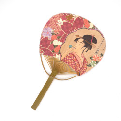 japanese non-folding fan uchiwa UTAMARO, geisha