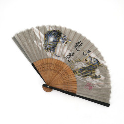 japanese grey fan made of silk and bamboo, RYUTORA, tiger and dragon