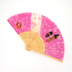 japanese pink fan made of silk and bamboo, KOKESHI, dolls