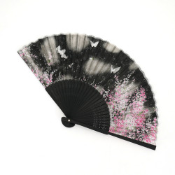 japanese black fan made of silk and bamboo, HANA, flowers and butterflies