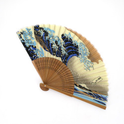 japanese blue fan made of silk and bamboo, KANAGAWA, waves