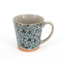 Japanese ceramic tea mug with handle SARASA blue flowers
