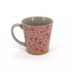 Japanese ceramic tea mug with handle SARASA red flowers