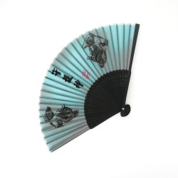 abanico japonés gris de seda y bambú, SHISA, divinidades