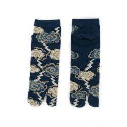 japanese cotton tabi socks for men, THUNDER, blue