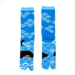 japanese cotton tabi socks for men, WHALE, blue and black