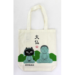 Bolso A4 size de algodón blanco y verde japonés, BOUDDHA, gato