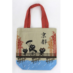 Japanese beige cotton A4 size bag, PICKSHAW, cats