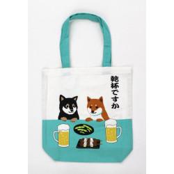 Sac A4 size bag japonais en coton, DOGBEER, blanc et turquoise