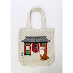 Bolso A4 size de algodón beis japonés, TEMPLEDOOR, rojo