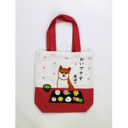 Bolso A4 size de algodón blanco y rojo japonés, DOGSWEET, perro