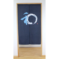 japanese noren curtain in polyester 85x150cm, CIRCLE, blue