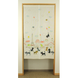 japanischer weiße vorhang aus polyester, PARIS, katzen