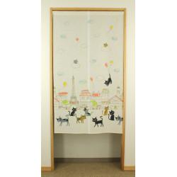 rideau noren blanc japonais en polyester, PARIS, chats