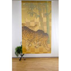 rideau noren japonais en polyester, BAMBOO TIGER, doré et vert