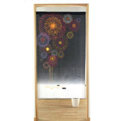 japanese noren curtain in polyester, FIREWORK, black and white