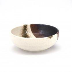 tazón de sopa japonés de cerámica Ø17x6,2cm, SAUIN, beis castaño y negro