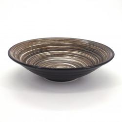 bol japonais à ramen en céramique Ø23,2cm UZUMAKI, tourbillon marron