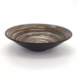 japanese noodle ramen bowl in ceramic Ø23,2cm UZUMAKI, brown swirl