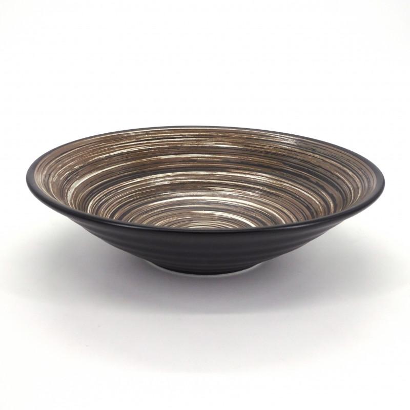 japanese noodle ramen bowl in ceramic Ø23,2cm UZUMAKI, brown swirl