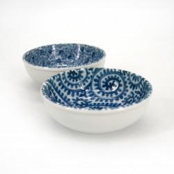 Japanese 2 flared bowls set in ceramic KARAKUSA blue patterns