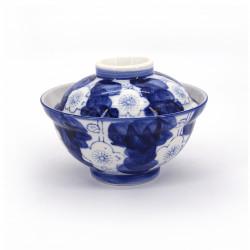 Tazón azul de cerámica japonés con tapa, UME, flores