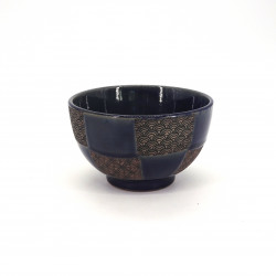 small blue japanese rice bowl in ceramic, ICHIMATSU, checkered