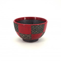 small red japanese rice bowl in ceramic, ICHIMATSU, checkered