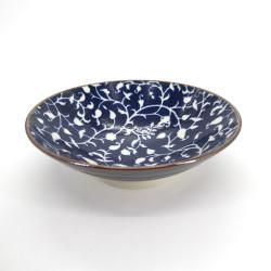 bol ramen japonais bleu en céramique, KARAKUSA, fleurs