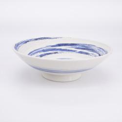 grand bol ramen japonais bleu et blanc en céramique, UZUMAKI, tourbillon