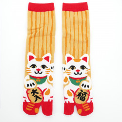 japanese cotton tabi socks, MANEKINEKO, yellow