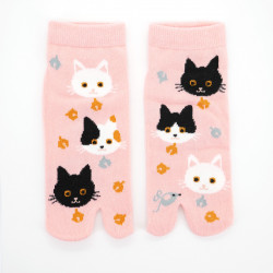 japanese cotton tabi socks, NEKO, cats