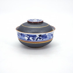 Japanese blue and grey ceramic bowl with lid, SHOCHIKUBAI, gold