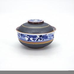 Tazón azul y gris de cerámica japonés con tapa, SHOCHIKUBAI, dorado
