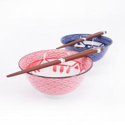 juego de 2 cuencos japoneses de cerámico para ramen MANEKINEKO rojo y azul