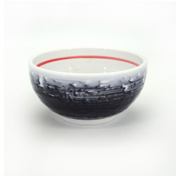 japanese soup bowl in ceramic, SHIGURE, grey white and orange