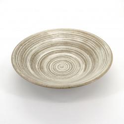 bol japonais à ramen en céramique, UZUMAKI, tourbillon beige