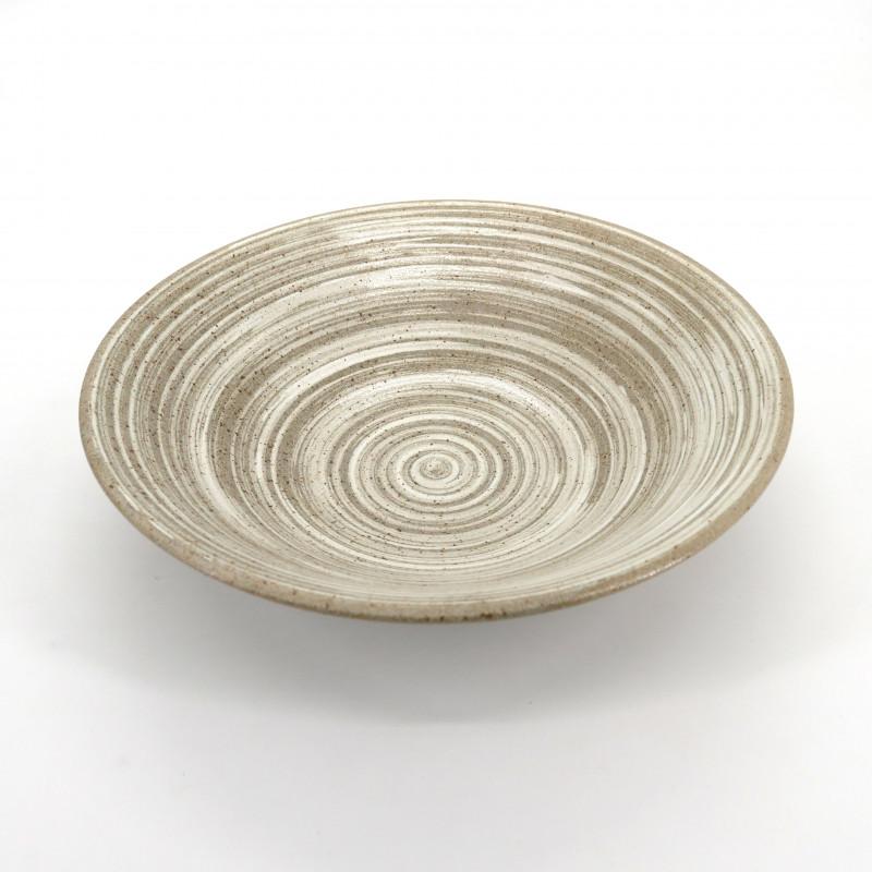 japanese noodle ramen bowl in ceramic Ø23,2cm UZUMAKI, beige swirl
