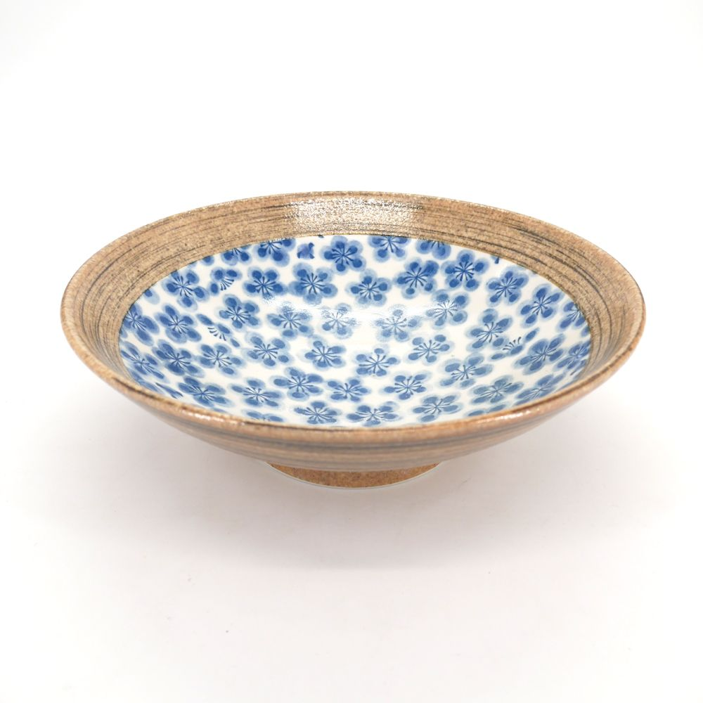 Japanese blue and brown ramen noodles bowl UME flowers