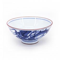 Cuenco de arroz japonés azul pequeño de cerámica, RYÛ Ø14,5cm dragón