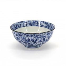 Cuenco de arroz japonés azul pequeño de cerámica, KOBANA Ø11,6cm flores