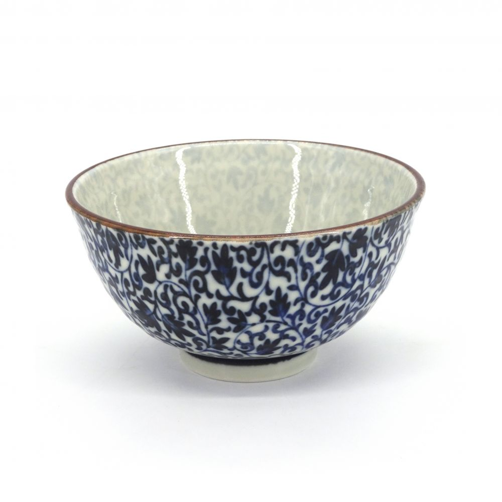 small blue japanese rice bowl in ceramic, KARAKUSA Ø12,5cm flowers