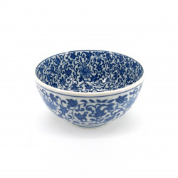 japanese soup bowl in ceramic, KARAKUSA, blue