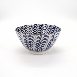 japanese soup bowl in ceramic, Ø16,9cm SHIDARE, blue