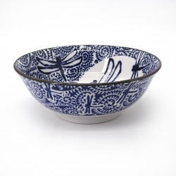 bol japonais à ramen en céramique libellule TOMBO, bleu et blanc