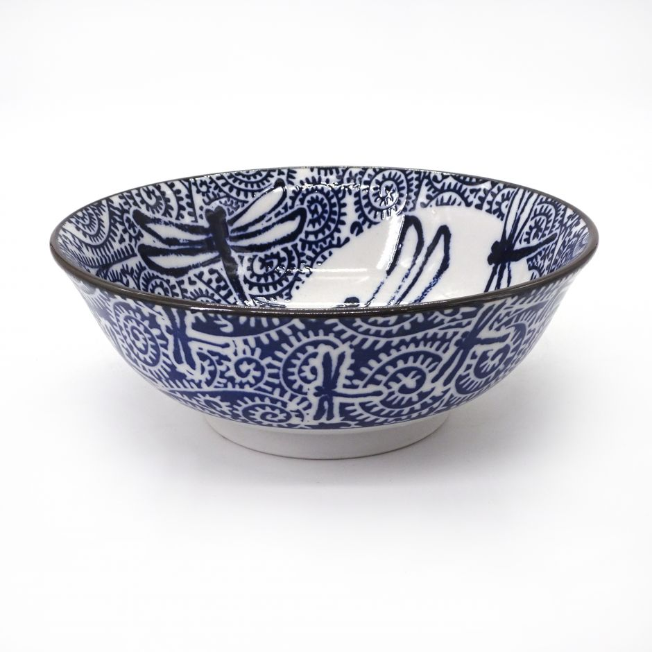 japanese noodle ramen bowl in ceramic dragonfly TOMBO, blue and white
