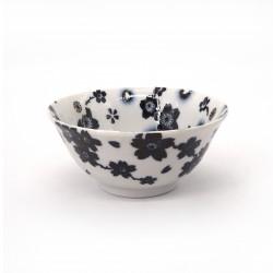 bol japonais à ramen en céramique fleurs SAKURA , noir et blanc